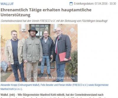 FRESKO e.V. übernimmt die Betreuung der Gemeinschaftsunterkunft in Walluf