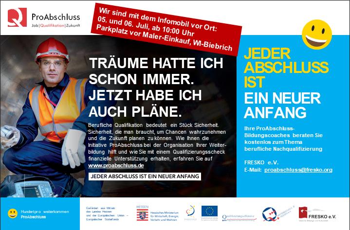 Bildungscoaches von FRESKO e.V. im mobilen Beratungsbüro in Wiesbaden Biebrich